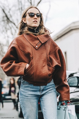 jacket leather jacket brown mom jeans turtleneck sweater jeans brown leather jacket oversized jacket fall jacket fall outfits tortoise shell sunglasses