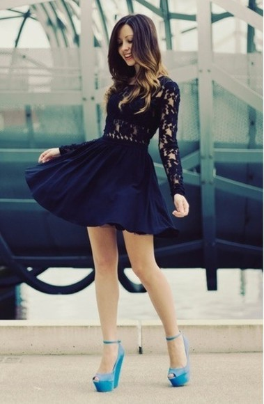 navy dress short prom long sleeved