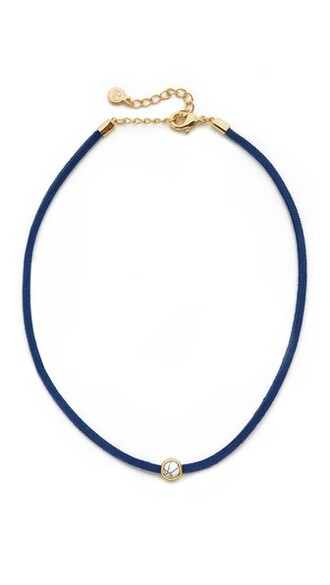 necklace choker necklace gold navy jewels