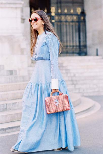 vanessa jackman blogger blouse shirt skirt maxi skirt blue skirt blue shirt spring outfits