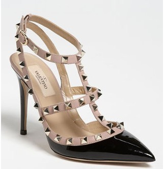 ladies fashion shoes ROCKSTUD CALFSKIN PUMPS 100mm Leather covered high heel Adjustable ankle strap buckle Gold metal studs-in Pumps from Shoes on Aliexpress.com