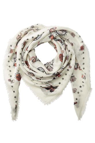 printed scarf scarf silk white