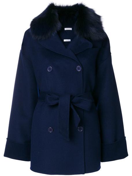 P.A.R.O.S.H. coat fur fox women blue wool