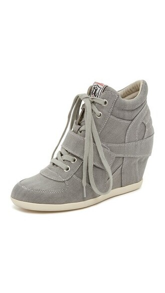 sneakers grey wedge sneakers shoes