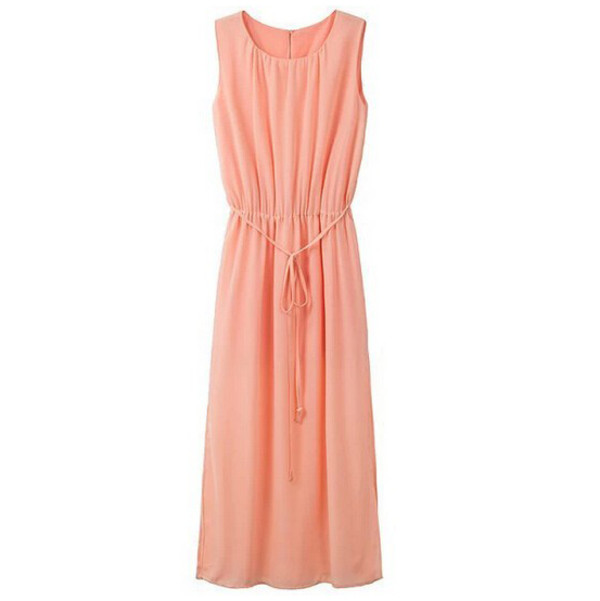 slit dress maxi dress sleeveless dress peach dress