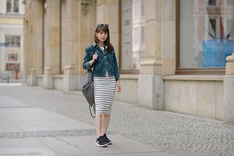 kapuczina blogger denim jacket striped dress