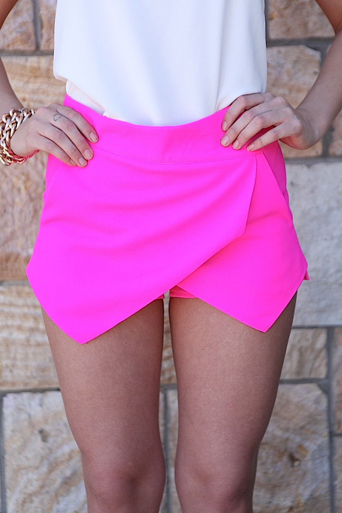 Pink Shorts - Hot Pink Asymmetric Layered Front | UsTrendy