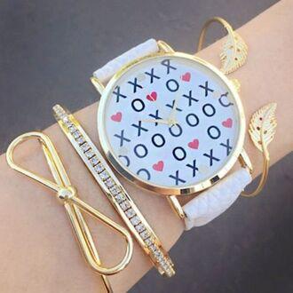 jewels geneva watch jewelry bow bow bracelet bows bracelets stacked bracelets arm candy gold