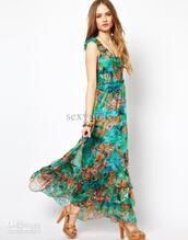 dress,maxi dress,chiffon dress,teal,aqua,floral dress,loose,heels,high heels,sandal heels,slingback heels,peep toe sandals,ruched lining,elastic waist