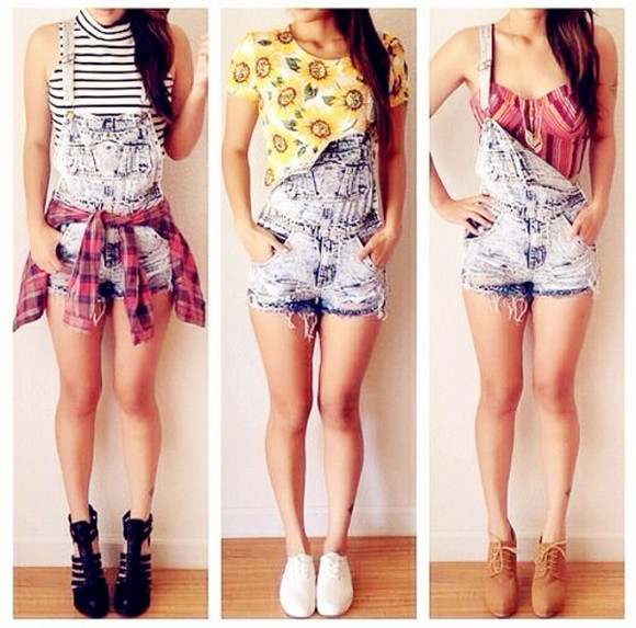 denim vest jeans t-shirt tank top shoes oasap oasap_fashion shorts top crop tops boots flats clothes fashion sunflower sunflower shirt bralette stripes plaid straps high heels