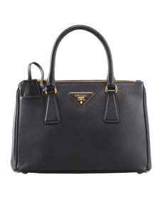 Prada Mini Saffiano Lux Tote Bag, Black (Nero)