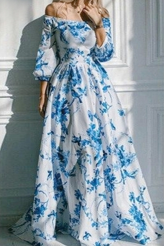dress white blue zaful long dress long sleeves long sleeve dress floral floral dress blue floral dress