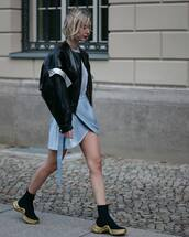 jacket,leather jacket,black sneakers,mini dress,black jacket