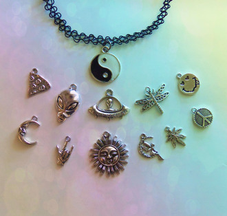 jewels bubblegum graffiti 90s grunge 90s style grunge soft grunge pastel goth yin yang pizza alien sun moon weed pot leaf peace sign dragonfly ufo tattoo choker necklace choker necklace jewelry accessories hipster accessory