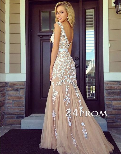 Line backless lace prom dresses, lace evening dresses