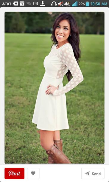 dress white dress polka dots flowy dress