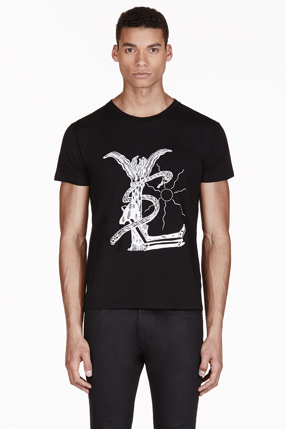 Saint laurent black modified ysl logo t shirt for Ysl logo tee shirt