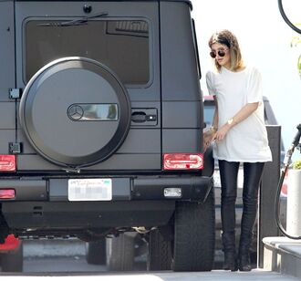pants recent kylie jenner leather sunglasses t-shirt oversized leather pants jeans
