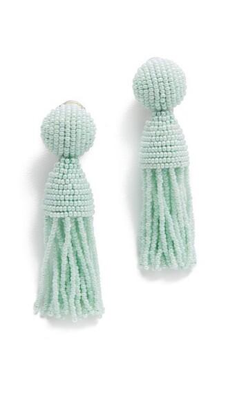 short tassel soft beaded earrings mint jewels