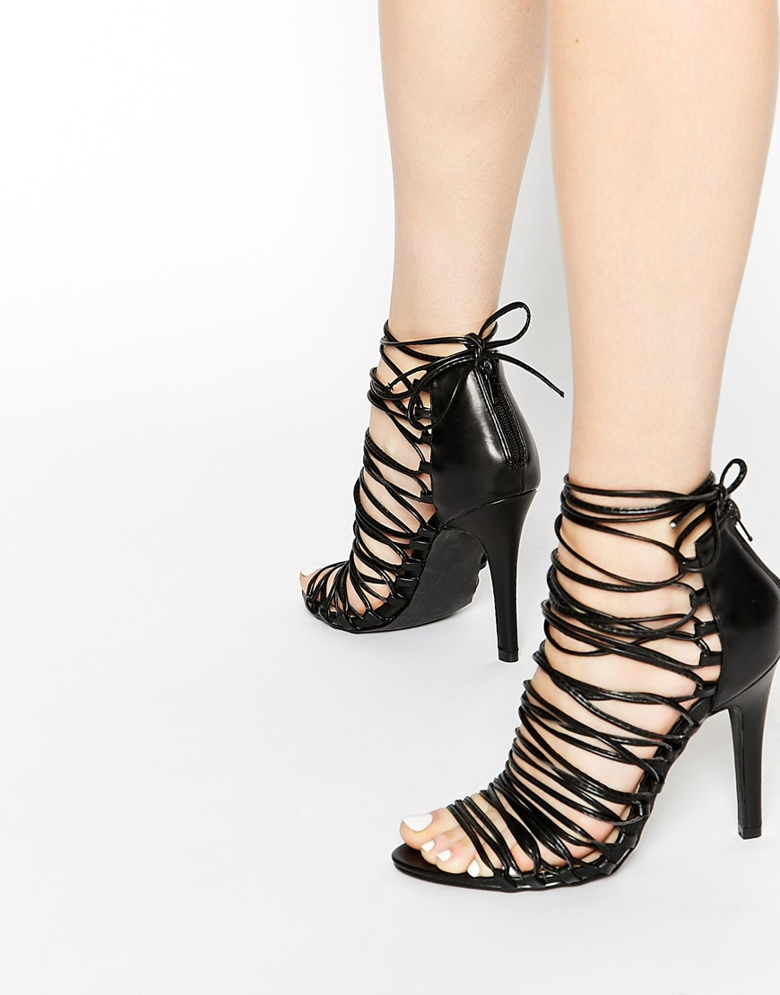 7bcae176fb1 Pieces Sophie Black Multi Strap Heeled Sandals at asos.com