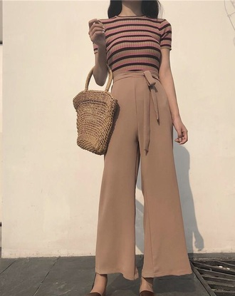 pants girly girl girly wishlist nude tan flare cute summer summer outfits