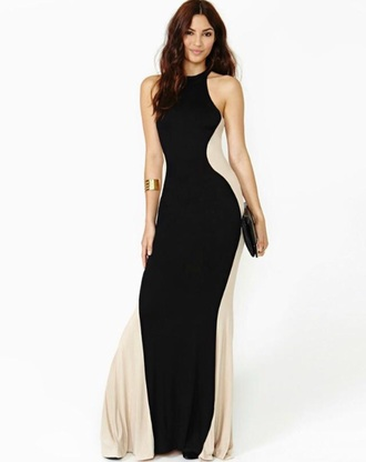 dress black cream black and cream evening evening dress long dress prom dress elegant sleeveless sexy promdress prom girl girly longdress sparkly black highheels lipstick onenoght mermaid long pretty