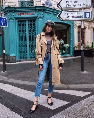 coat hat tumblr trench coat top grey top denim jeans blue jeans cropped jeans shoes flats black flats fisherman cap