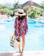 dress,tumblr,mini dress,floral,floral dress,tunic,tunic dress,sandals,flat sandals,gladiators,bag,woven bag,hat,sun hat,shoes