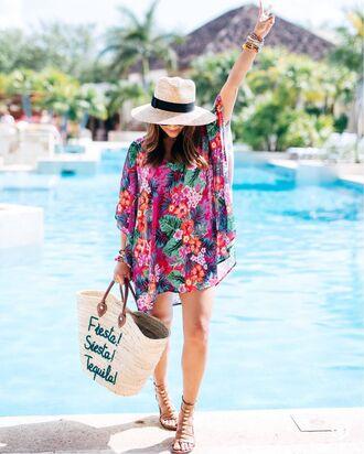 dress tumblr mini dress floral floral dress tunic tunic dress sandals flat sandals gladiators bag woven bag hat sun hat shoes