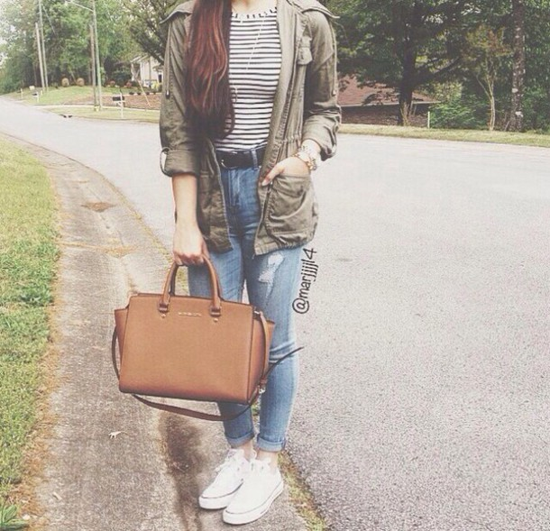 jacket green fall outfits winter outfits cute tumblr shirt stripes crop tops black and white jeans light blue ripped high waisted high-waisted denim jeans denim bag