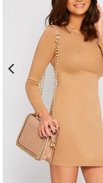 bag nude chain dress gold chain