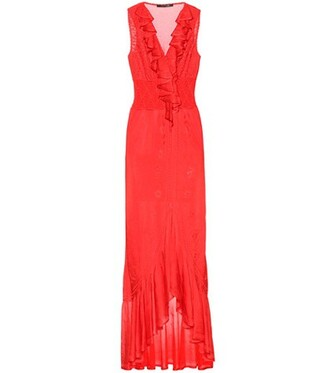 gown sleeveless red dress