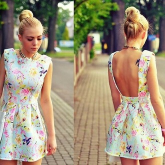 backless dress pastel dress dress spring dress floral dress blue pink
