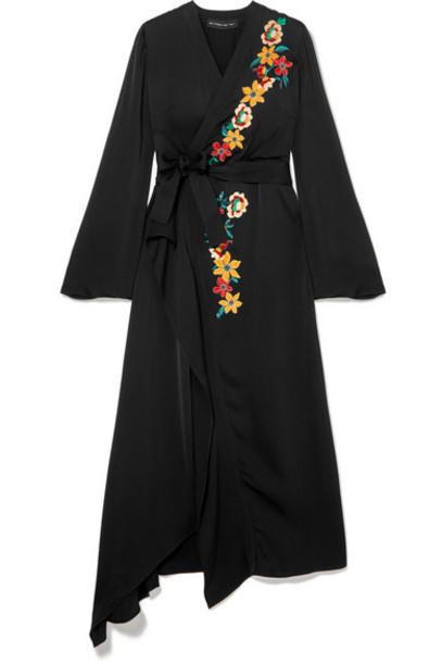Etro - Wrap-effect Embellished Hammered-satin Dress - Black