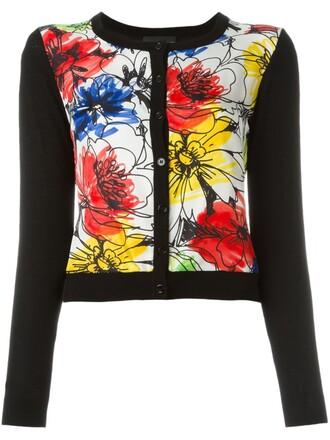 cardigan floral print black sweater
