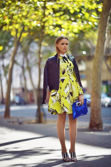 kayture blogger bag jewels sunglasses dress lime print pouch blue bomber jacket