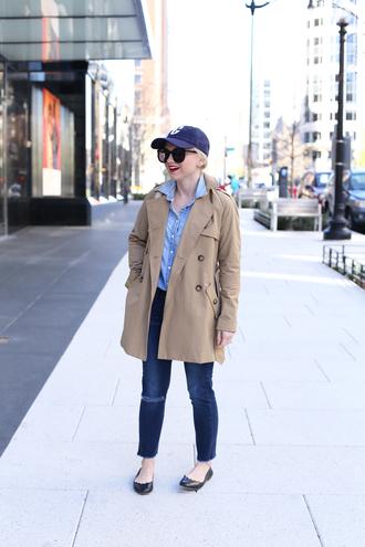 poor little it girl blogger hat shirt coat jeans bag