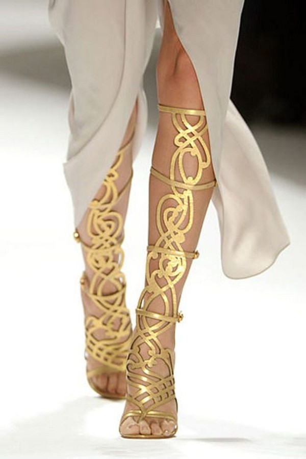 Gold Knee-High Gladiator Heels Metallic Leatherette