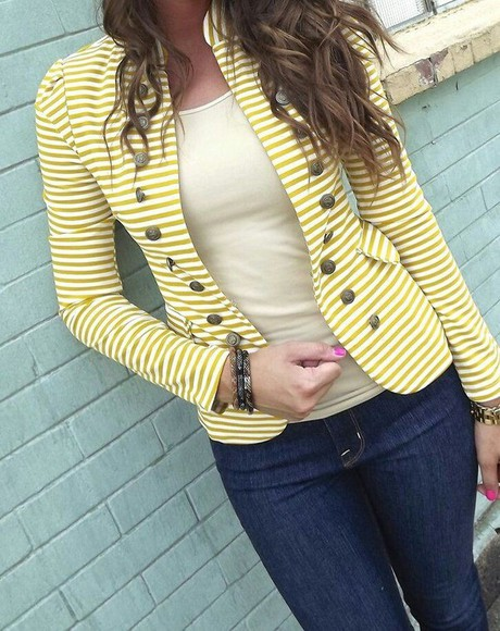 buttons jacket blazer yellow stripes