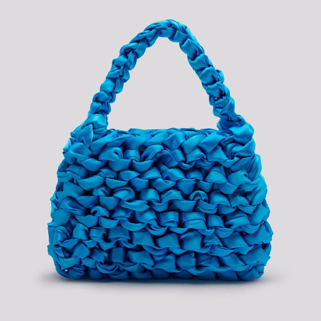 Theodore Pool Blue Satin Mini Tote Bag