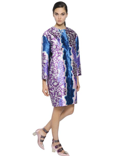 Peter Pilotto coat oversized silk blue purple
