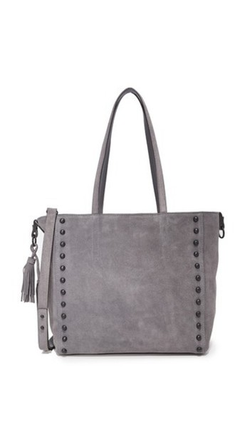 studded dark black grey bag