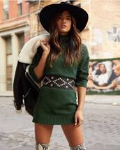 sweater,green sweater,dress,sweater dress,knitwear,mini dress,knitted dress,belted dress,snake print,over the knee,wool coat,hat