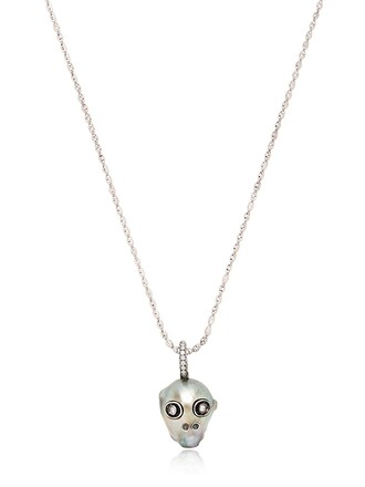 skull pearl necklace white jewels