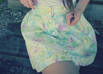 skirt flowers skater skirt button up yellow green pink jupe fleurs jupe patineuse button up skirt