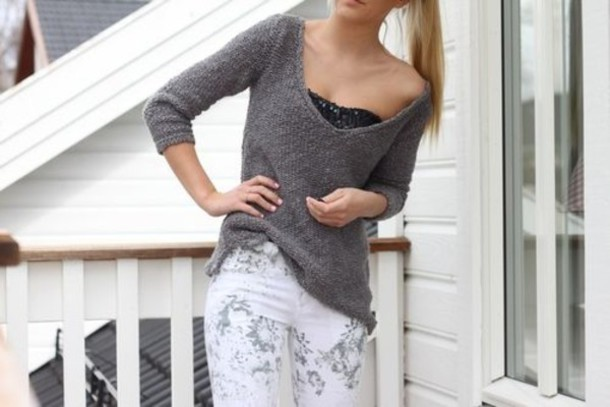 pants jeans floral grey white jeans sweater underwear
