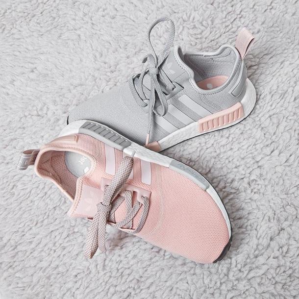 shoes adidas shoes pink grey adidas adidas nmd r1 adidas nmd adidas pink shoes  adidas grey