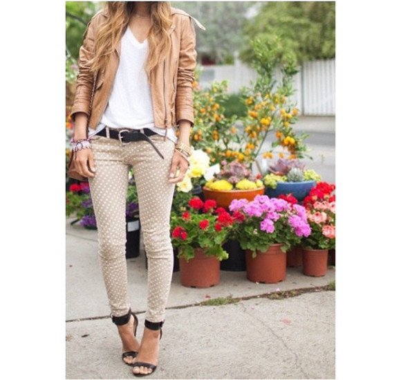pants printed pants jacket leather jacket brown pants beige pants