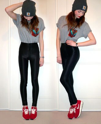 pants disco pants leggings t-shirt aztec hipster indie air max nike red black beanie shirt shoes