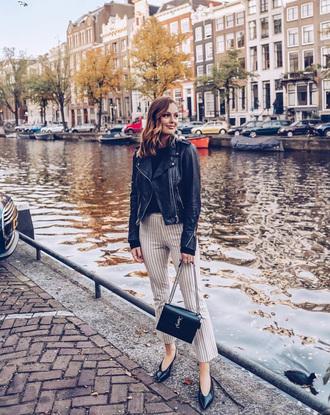 pants black jacket tumblr white pants cropped pants fall outfits jacket leather jacket black leather jacket bag black bag top black top stripes striped pants